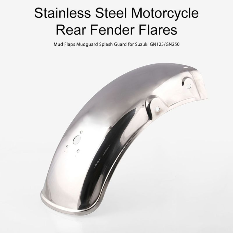 Stainless Steel Motorcycle Rear Fender Flares Mud Flaps Mudguard Splash Guard for Suzuki GN125/GN250 - title=