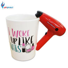 Upspirit Hair Dryer Handle Ceramic Mug Personalized Cup Salon Novelty Coffee Office Water Tea Cups Great Hairdresser Gift