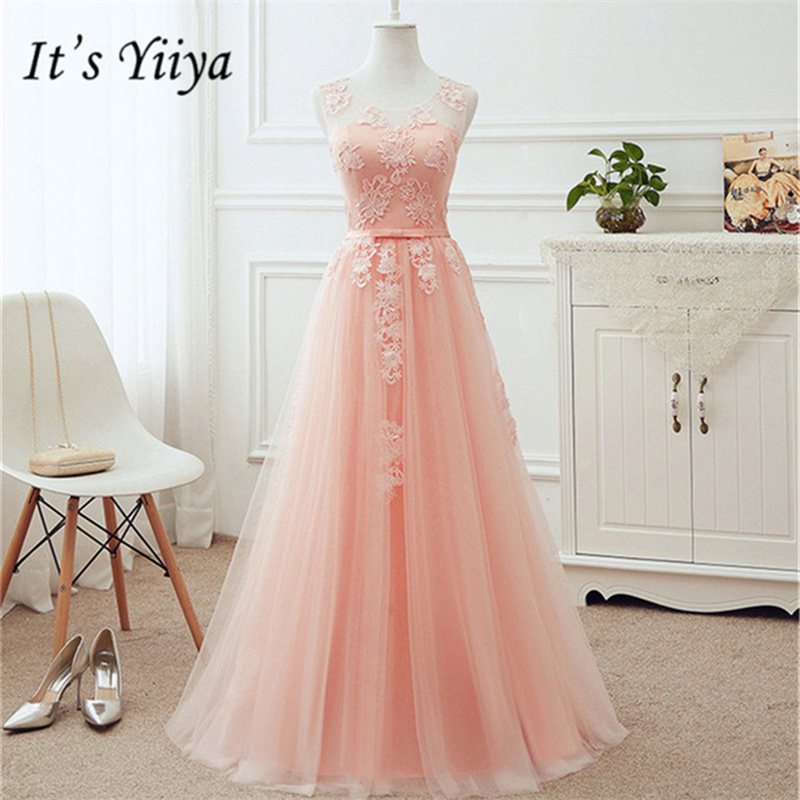 It's YiiYa Pink Pink Sleeveless Bridesmaid Dresses Elegant Lace Lace Up Tea-length Slim A-line Frocks H244