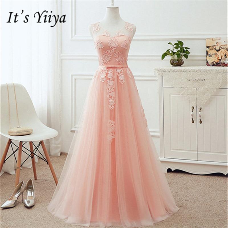 It's YiiYa Pink Pink Sleeveless   Bridesmaid     Dresses   Elegant Lace Lace Up Tea-length Slim A-line Frocks H244