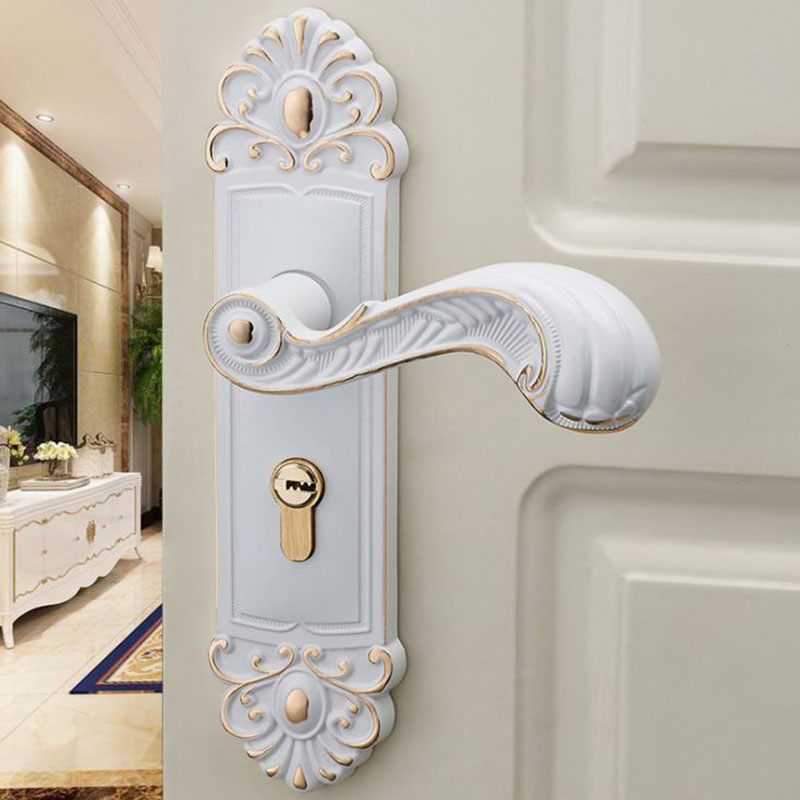 European door lock ivory indoor bedroom universal type room door lock solid  wood household bathroom wooden door handle