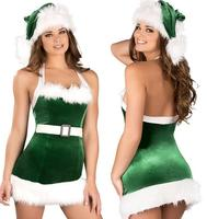 Cheapest Sexy Halter Green Christmas Erotic Dress Women Likes A Tree Clothes Sex Role Play With