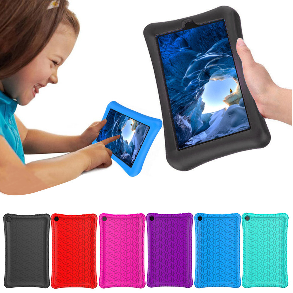 For Amazon Kindle Fire HD 8 2016/2017 Protective Shell Skin Silicone Case Cover Durable  Super Sturdy Lightweight Protective