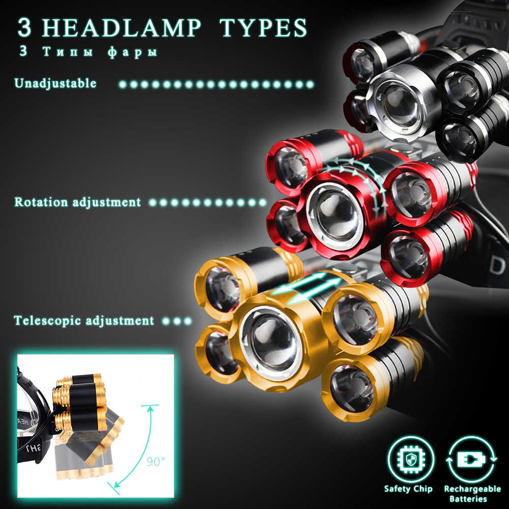 40000 Lums Ultra Bright Headlamp 5 T6 Led Headlight 4 Mode Zoom Head Lamp Rechargeable