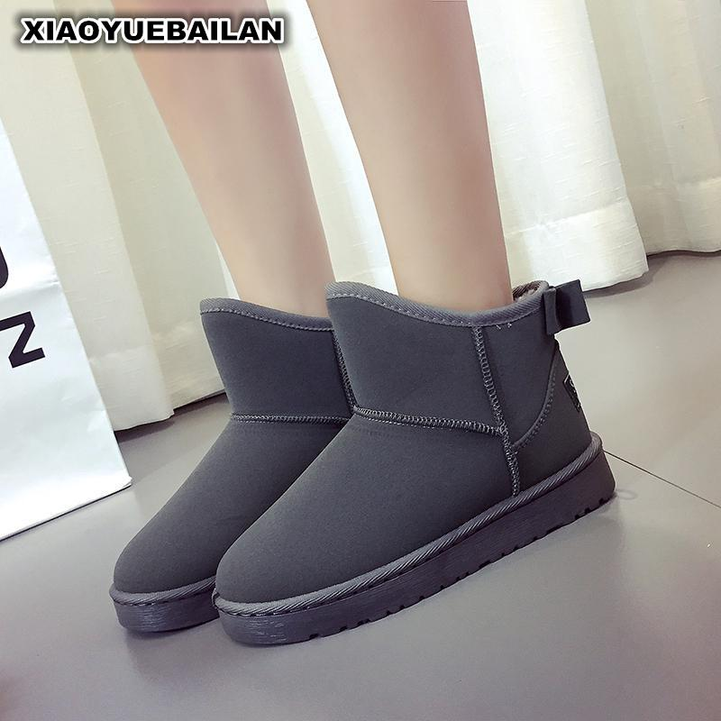 The New Winter Snow Boots Shoes Tide Flat Short Canister Wear Thick Warm Bow boots