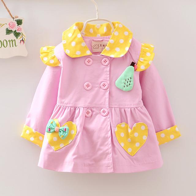 Moda del otoño niñas de doble botonadura CardiganBaby niños Polka Dot arco princesa Coat niños Outwear abrigos Trench