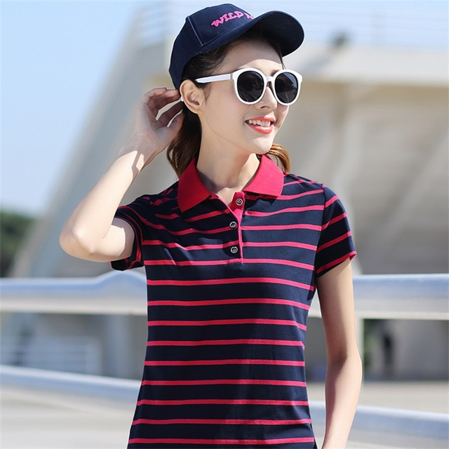 cf4a9db398f 2017 New Summer Brands Polo Shirt Women Slim Short-Sleeve Fashion Striped  Women Tops Cotton Big Size Plus Size Ladies Polo Shirt