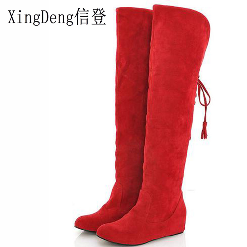 Reliable Xingdeng New Women Winter Snow Long Tassals Boots Flats Lace Up Over The Knee High Boots Height Increase Knight Boots Size 34-43
