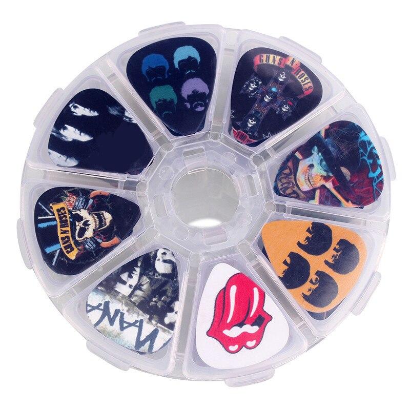 SOACH 50 unids dibujos animados Banda de Rock Guitar Picks caja de Mediador paddle + Caso guitarra instrumento Musical accesorios herramientas depiladas