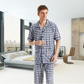 New Men Pajama Sets summer Bamboo fiber short-sleeve lounge male sleepwear v-neck Grid cardigan pyjama Sets onesie men 2017