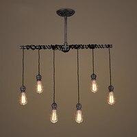 6 головок Чердачный потолок лампы для гостиной огни водопровод Vintgage потолочные светильники Edison Lamparas
