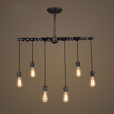 6 heads Loft Industrial ceiling Lamps For Living Room Lights Water Pipe Vintgage Ceiling Light Fixtures Edison Lamparas
