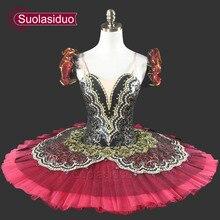 Women Red Professional Tutu For Girls Pancake Green  Performance Ballet Kids Child SD0014