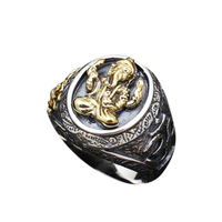 Genuine 925 Sterling Silver Fortune Elephant Rings For Men Yellow Gold Color Engraved Lotus Big Wide Male Rings India Jewelry
