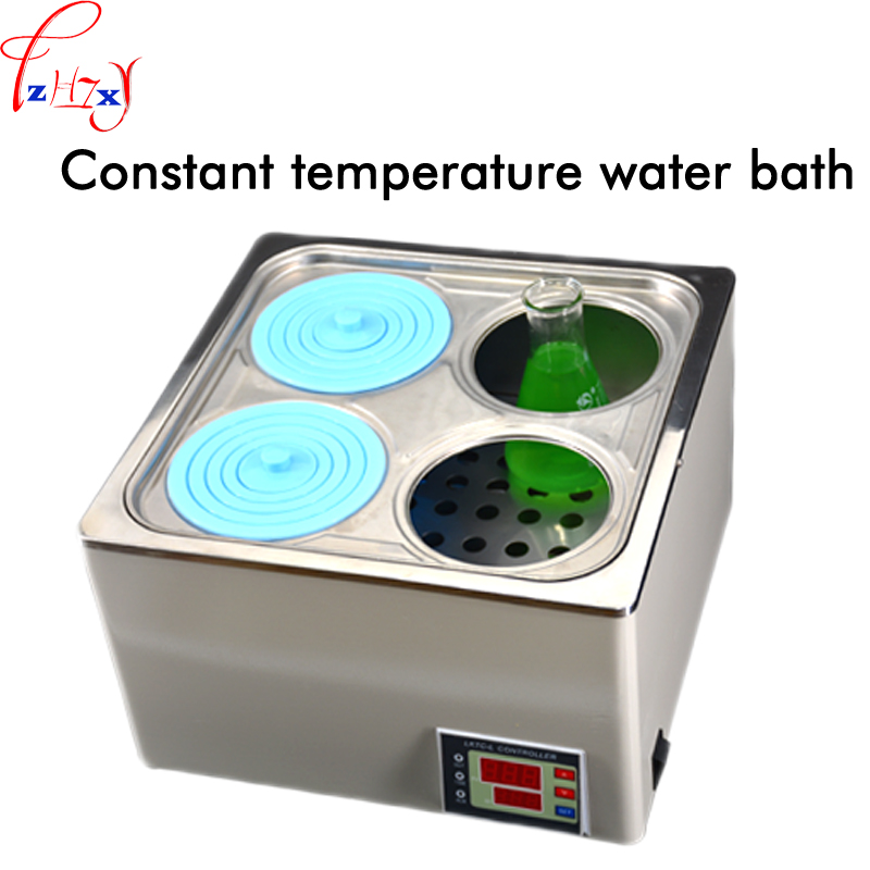 800W HH-4 thermostatic water bath pan stainless steel 4 hole high-grade digital display electric thermostatic water bath 200V zhengzhou the great wall guu hh s single hole experimental digital electronic thermostatic bath w o lifting water bath