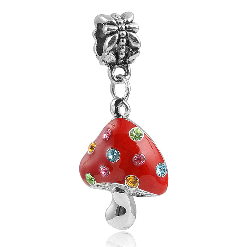 Sterling Silver Enamel Kids Mushroom Bangle Bracelet