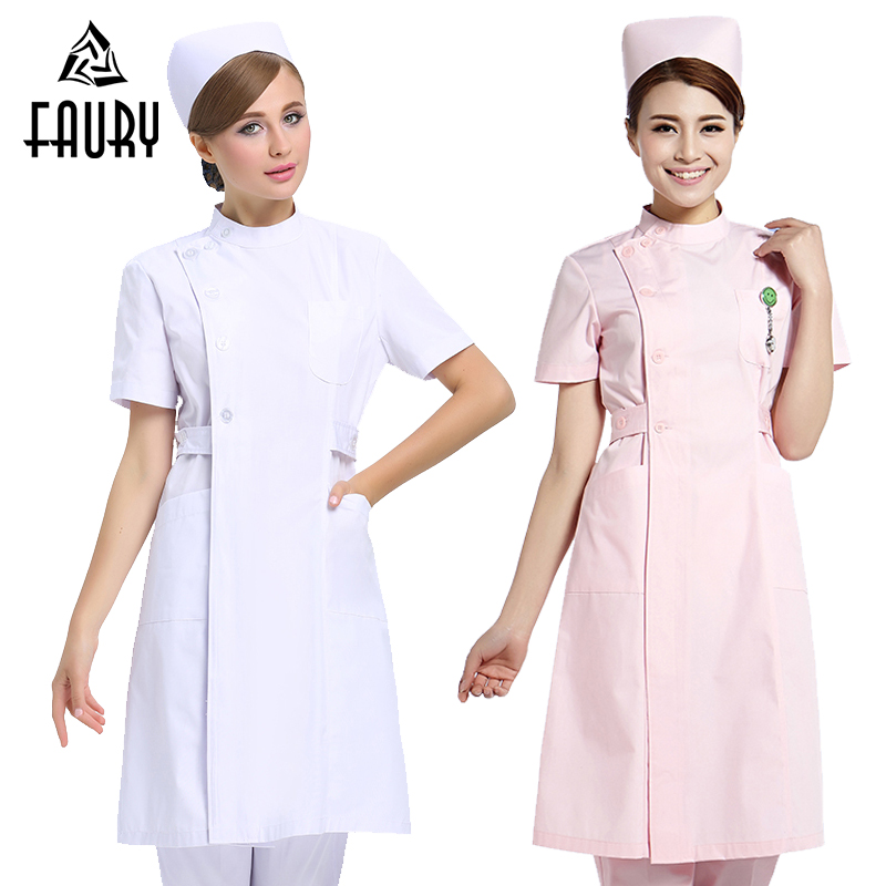 2018 Summer Hospital Pharmacy Beauty Salon Doctor Nurse Short Sleeve Uniform White Coat Dental Clinic Workwear Clothing Lab Coat