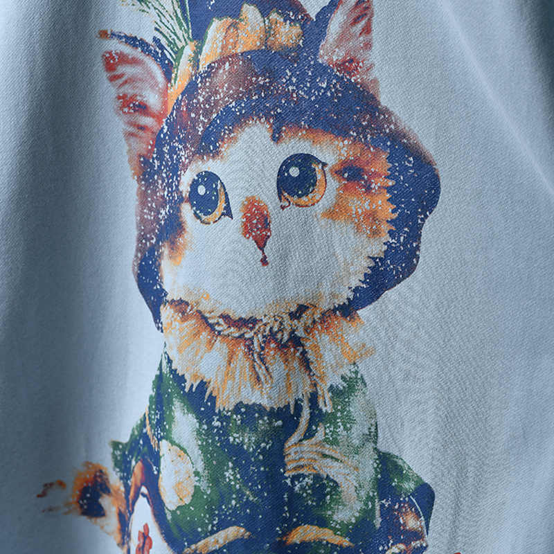 T8520 художественный длинный милый котенок свободная джокер из чистого хлопка футболка для женщин