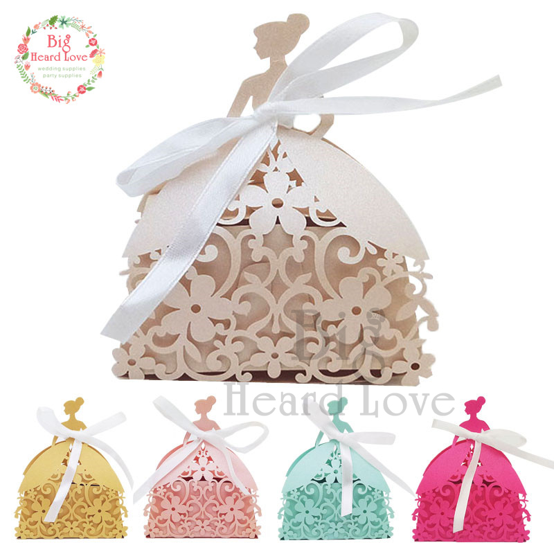 25pcs Bride Laser Cut Wedding Favors Box Candy Box Princess Gift Box For Wedding And Party Baby Shower Box Wedding Favors Decor