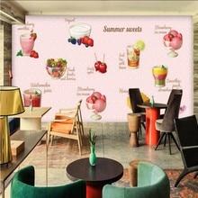 Custom mural Summer dessert pink fruit vegetable salad mural restaurant children room custom corridor decorative painting