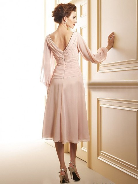 New Arrival A-Line V-Neck Chiffon Long Sleeve Mother Of The Bride Dresses Elegant 20156 Evening Formal Dress Guest Dresses 3