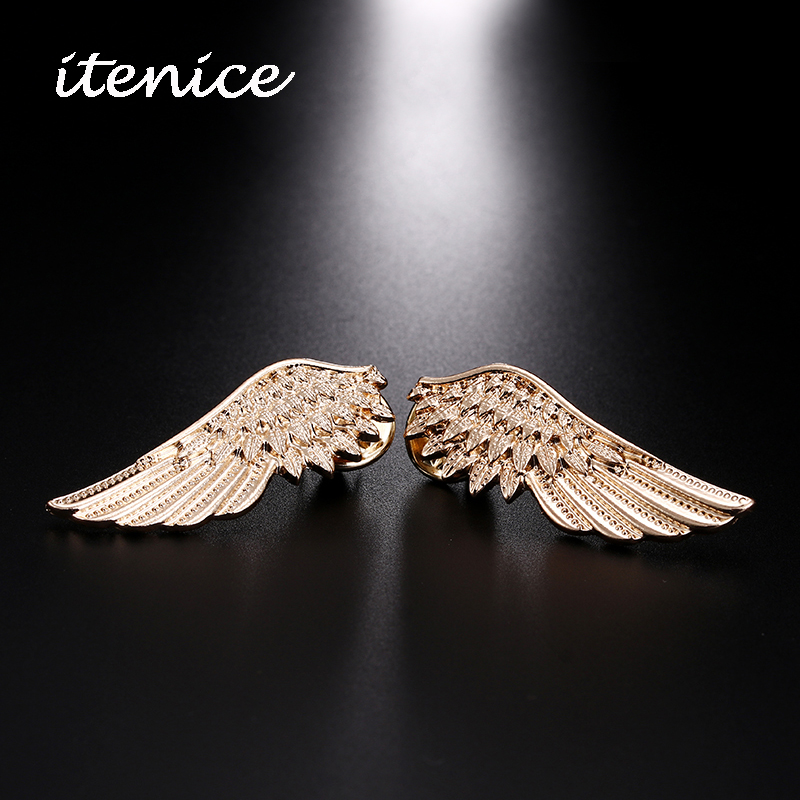 Luxury Brooch 2018 Trendy Brilliant Female Jewelry Vintage Metal Feather Wings Pins Brooch 1 Pair For Women Men Fashion Gifts