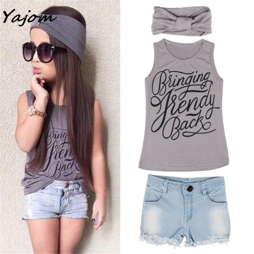 цены  2017 New Hot Sale  1Set Kid Baby Girls Vest Top Clothes + Jeans Pants Shorts+Scarf Suit Outfit Brand New High Quality Mar 6