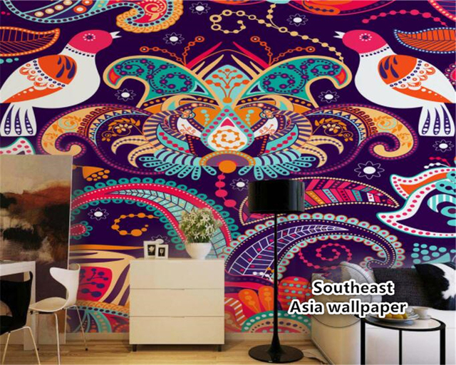 Beibehang Wallpaper Hand Painted Pigeons Minority Ethnicity Style Abstract Southeast Asian Wall Papel De Parede 3d
