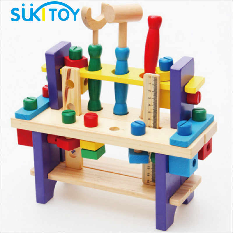 SUKIToy Wooden Toy Kid's Soft  Assembling Blocks Set Tooling Pretend Play classic toys gift For boys early educational toy