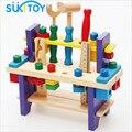 Conjunto de ferramentas de montagem de blocos de madeira do miúdo macio pretend play dom brinquedos clássico para meninos alta quanlity brinquedo educativo cedo