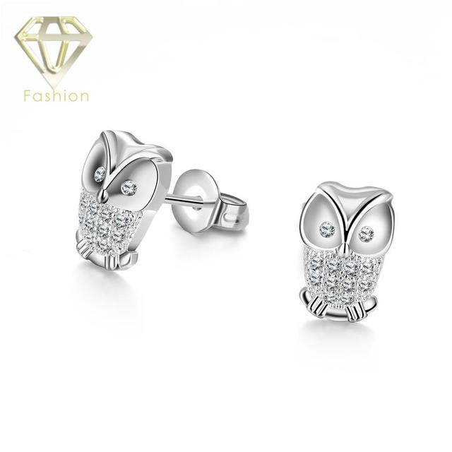 Unique Design Owl Earrings Studs White Gold Color Inlaid Crystals Stud For Women Fashion Jewelry
