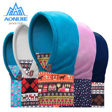 цена на AONIJIE Kids Winter Warm Ski Snowboard Balaclava Scarves Hat Cartoon Polar Fleece Cycling Face Mask Children Winter Neck Warmers