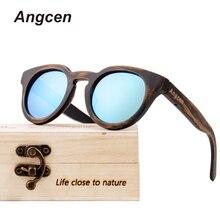 Angcen мужские солнцезащитные очки, поляризационные, uv400, высокое качество, фирменный дизайн, Классические солнцезащитные очки, мужские винтажные бамбуковые солнцезащитные очки, деревянная оправа