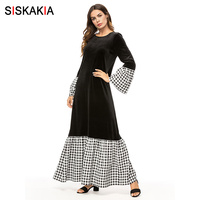 Siskakia Fashion Plaid Contrast Color Patchwork Women Long Dress Fall 2018 Basic T Shirt Dresses Elegant Slim Maxi Dresses Black