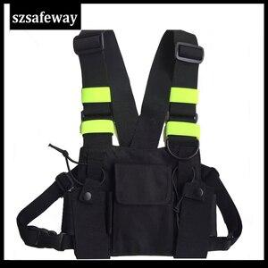 Image 1 - Naylon demeti iki yönlü radyo kılıfı göğüs çanta paketi Walkie Talkie için taşıma çantası kenwood için Baofeng UV 5R UV 82 için motorola