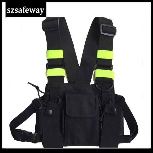 Naylon demeti iki yönlü radyo kılıfı göğüs çanta paketi Walkie Talkie için taşıma çantası kenwood için Baofeng UV 5R UV 82 için motorola