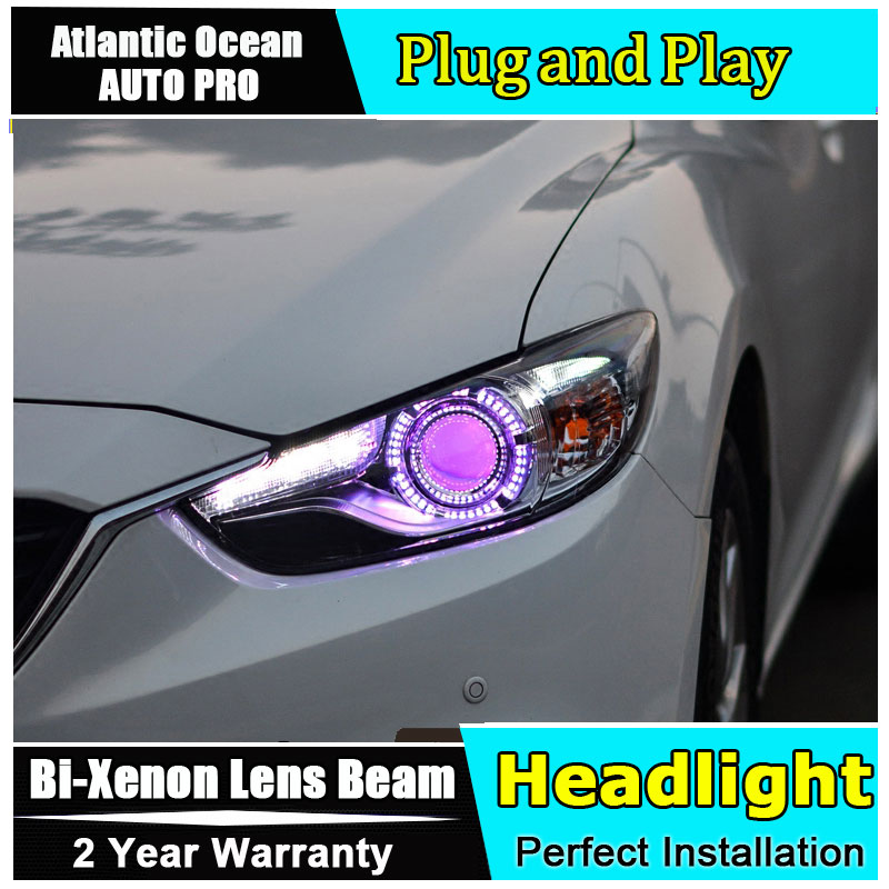 new head light car styling For Mazda 6 ATENZA headlights 2014-2015 For mazda 6 head lamps Bi-xenon Double lens HID KIT led drl led strip headlights front lamps fit for toyota corolla altis 2014 2015 2016 head lamps with turn signal lamps