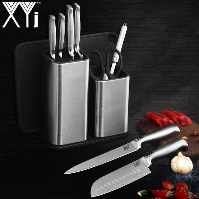XYj Beautiful Kitchen Tools Stailess Steel Kitchen Knife Stand Holder Block Chef Cooking Tools Scissors Sharpener New Gift Sale