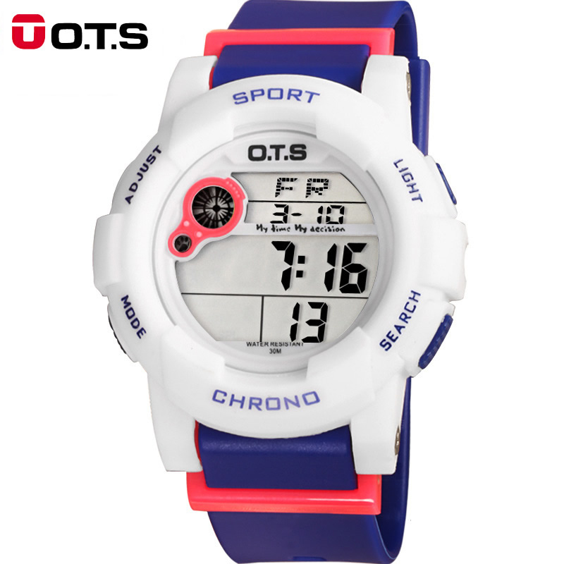 OTS Children Watch Boys Girls Student Waterproof Kids Watches Digital Eletronicos Led Quartz Alarm Date Sport