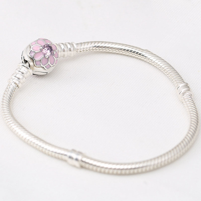 100 Authentic 925 Sterling Silver Bead Charm Snake Chain Fit Pans Bracelet With Magnolia Bloom Clasp For Women DIY Jewelry in Charm Bracelets from Jewelry Accessories