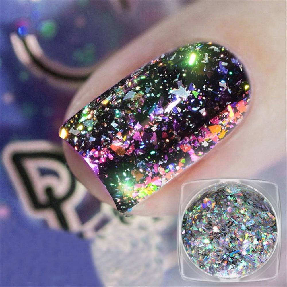 1 Box Chameleon Flakes Shimmer Galaxy Nail Glitter Dust: 0.2gram/box Galaxy Holo Chameleon Laser Flakes Bling Nail