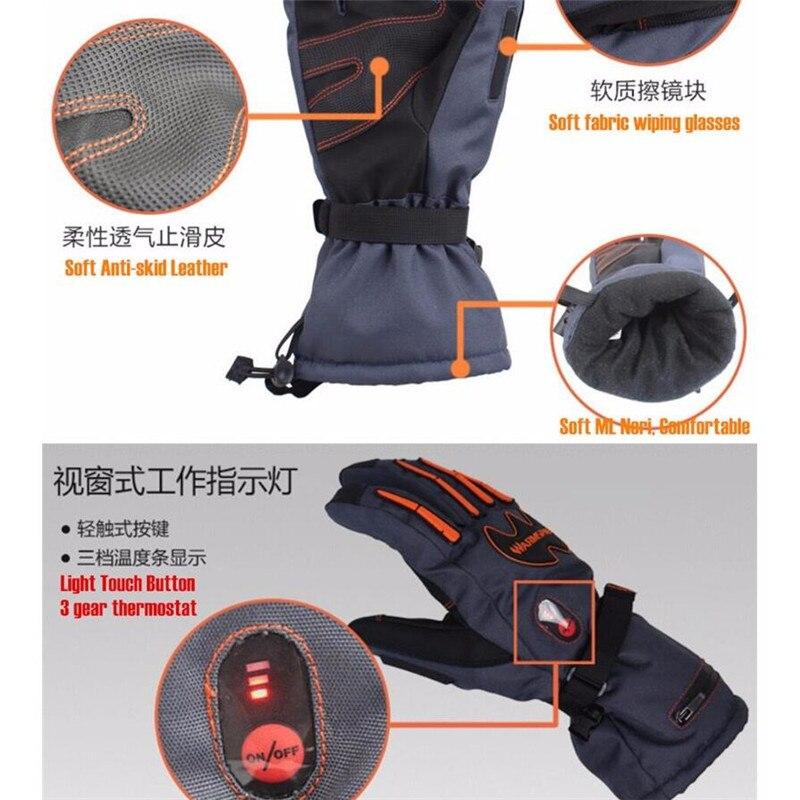 Warmspace 5600 MAH guantes de calor eléctricos inteligentes, batería de litio impermeable de esquí autocalentamiento, 5 dedos y parte posterior de la mano calentados, 3 engranajes 4-8 H - 4