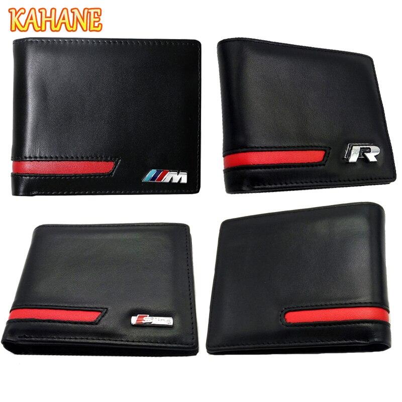 KAHANE Echtes Leder Männer Brieftasche Auto Führerschein Tasche Für Audi A3 A4 A5 A6 BMW E46 E90 E39 F10 F30 VW T5 Passat B5 Golf 5 7