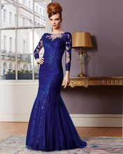 Vestido Mae Da Noiva Mermaid Mother Of The Bride Dresses Long Sleeve Royal Blue Lace Godmother Dress