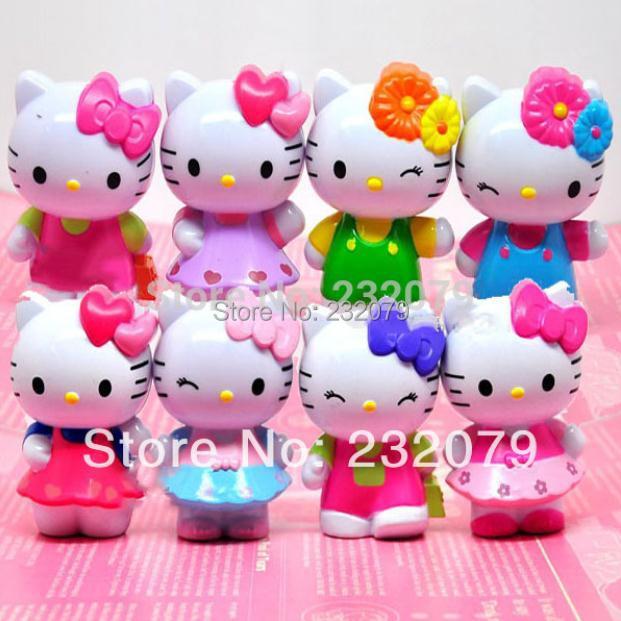 8 Pcs/Set Pop Anime Hello Kitty Vinyl Dolls Pvc Action Figures Kids Classic Toys Baby Birthday Gift Girls Boys Children - Store store