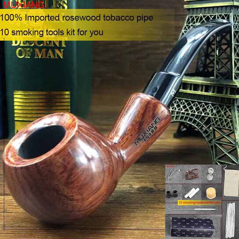MUXIANG 10 Tools kevazingo wood Tobacco Pipe 9mm Activate Carbon Filter  Bent Rhodesian Wooden Smoking Pipe Gift for Men ad0017