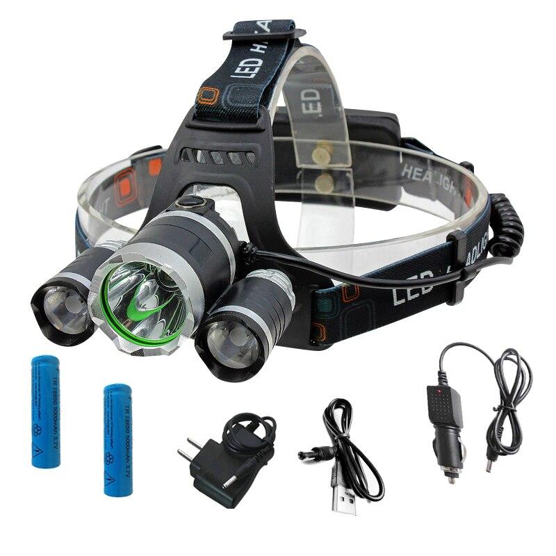 Rechargeable 12000Lm XM-L T6 Led Headlamp torches lampe de poche De Pêche Lampe + 2*18650 batterie + Voiture UE/NOUS/90 chargeur + USB