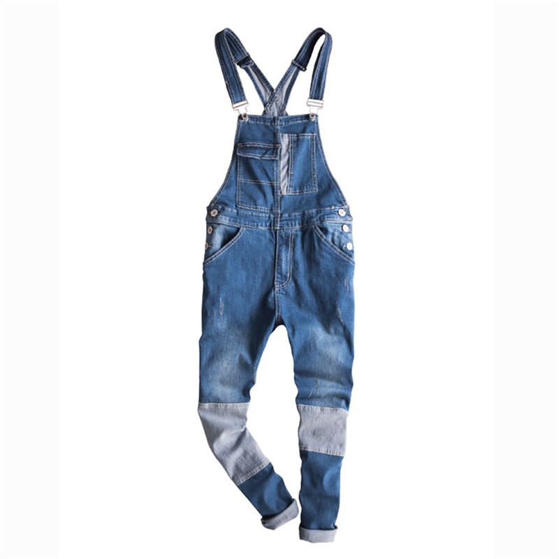 Humorous 2018 New Fashion Mens Blue Denim Jumpsuits Rompers Streetwear Man Casual Bib Overalls Jeans Vintage Design Pants With Straps Goods Of Every Description Are Available Men's Clothing
