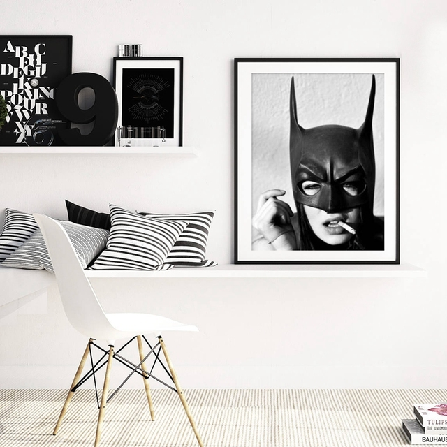 Batman Smoking Poster Prints , Black and White Superhero Batman Girl 1