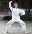 White Female Long Sleeve Wu Shu Kung Fu Suit Chinese Women's Satin Tai Chi Uniform Clothing XXS XS S M L XL XXL XXXL 2526